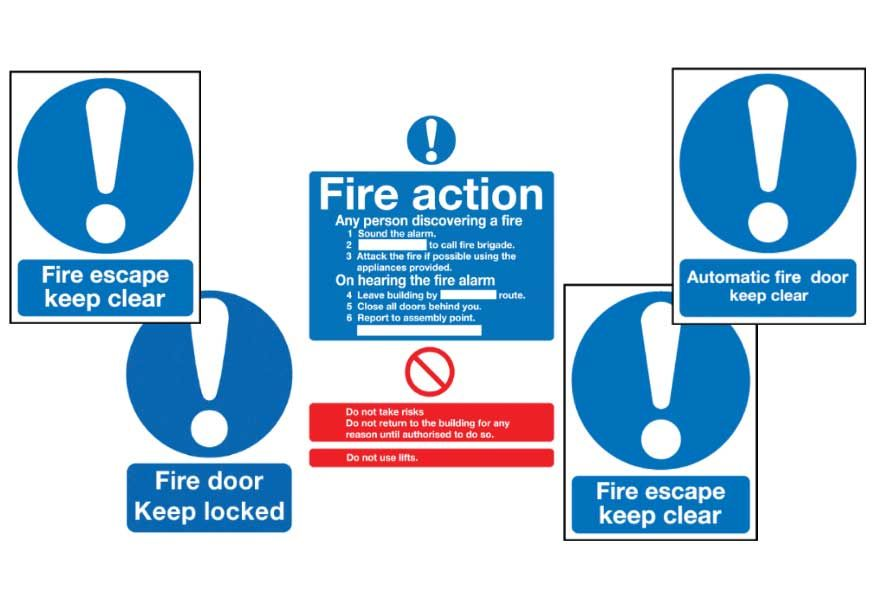 Fire action signs